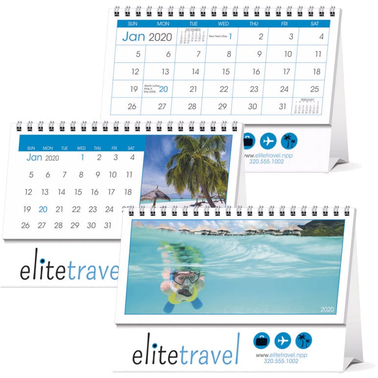 White Blue Grid Bar 12 Month Desk Tent Calendar 2019 Personalized