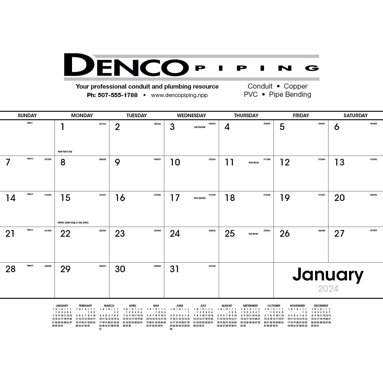 Desk Pad Black and White Calendar (2020)