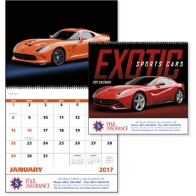 Printed Exotic Sports Cars Spiral Calendar