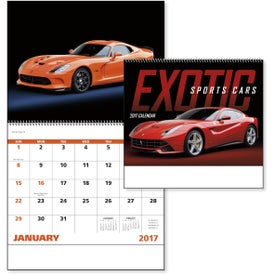 Monogrammed Exotic Sports Cars Spiral Calendar