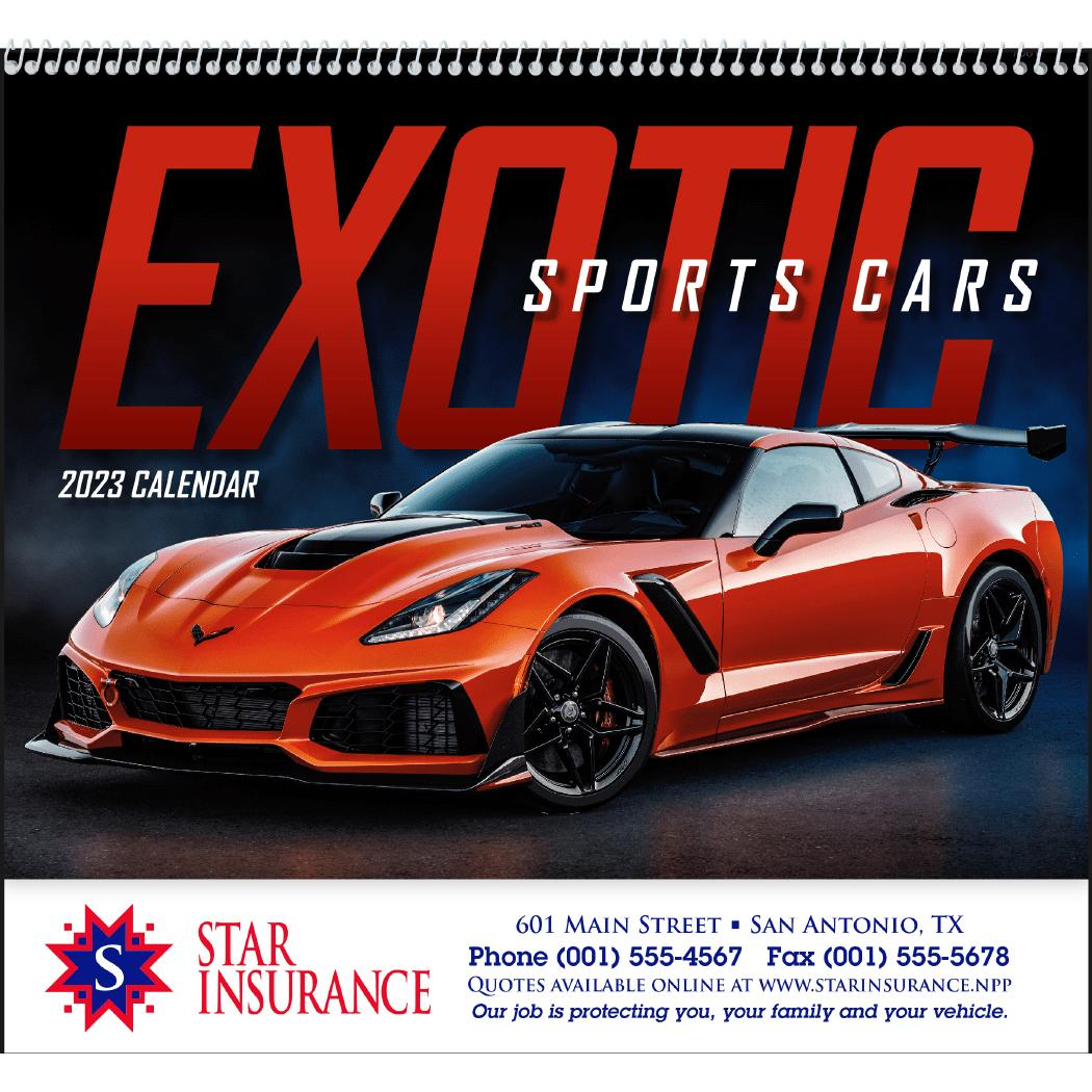 Luxury Sports Car Logos: Promotional 2019 Exotic Sports Cars Spiral Calendars With