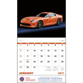 Imprinted Exotic Sports Cars Stapled Calendar