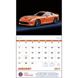 Imprinted Exotic Sports Cars Stapled Calendar