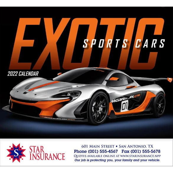 Exotic Sports Cars Stapled Calendar