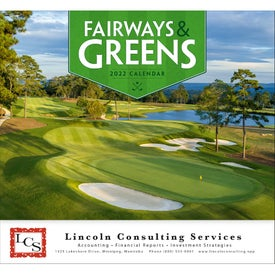 Fairways and Greens Stapled Calendar with Your Slogan