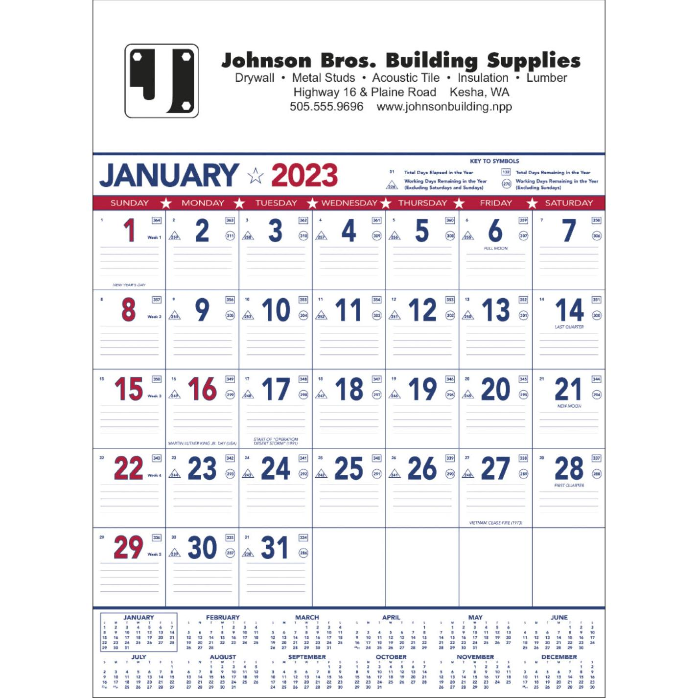 promotional 13 sheet 2019 flag contractor memo calendars with