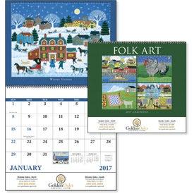 Folk Art Spiral Calendar with Your Logo