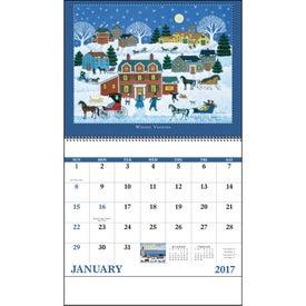 Monogrammed Folk Art Spiral Calendar