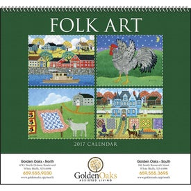 Folk Art Spiral Calendar for Advertising