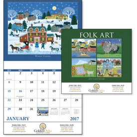Folk Art Stapled Calendar Imprinted with Your Logo