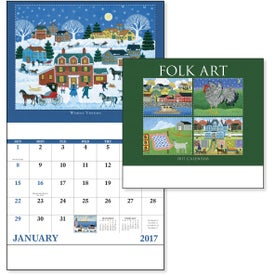 Folk Art Stapled Calendar for Your Company