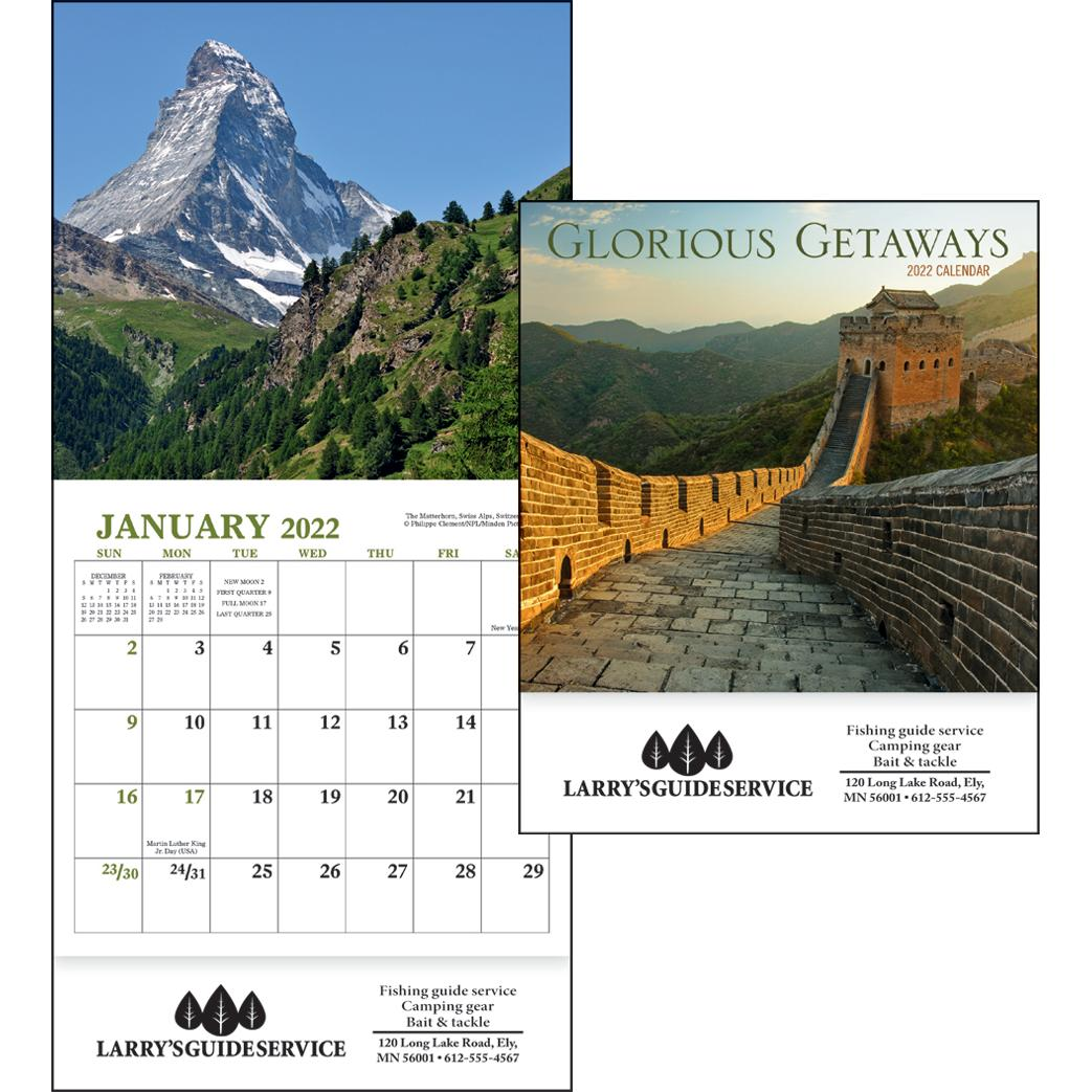 promotional 2019 glorious getaways mini calendars with custom logo