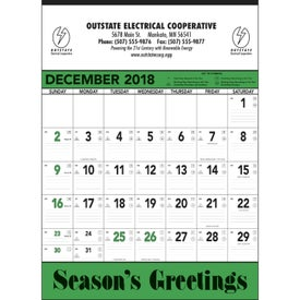Green and Black Contractors Memo Calendar with Your Slogan