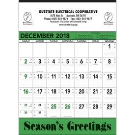 Green and Black Contractors Memo Calendar with Your Slogan