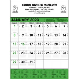 Green and Black Contractors Memo Calendar Branded with Your Logo