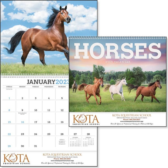 Horses 12 Month Appointment Calendar