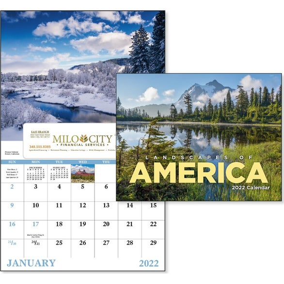 Landscapes of America Window Calendar, English