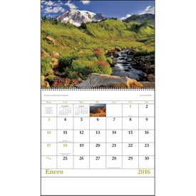 Landscapes of America Spiral Calendar, Spanish Imprinted with Your Logo