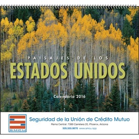 Customized Landscapes of America Spiral Calendar, Spanish