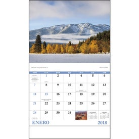 Landscapes of America Stapled Calendar, Spanish with Your Logo