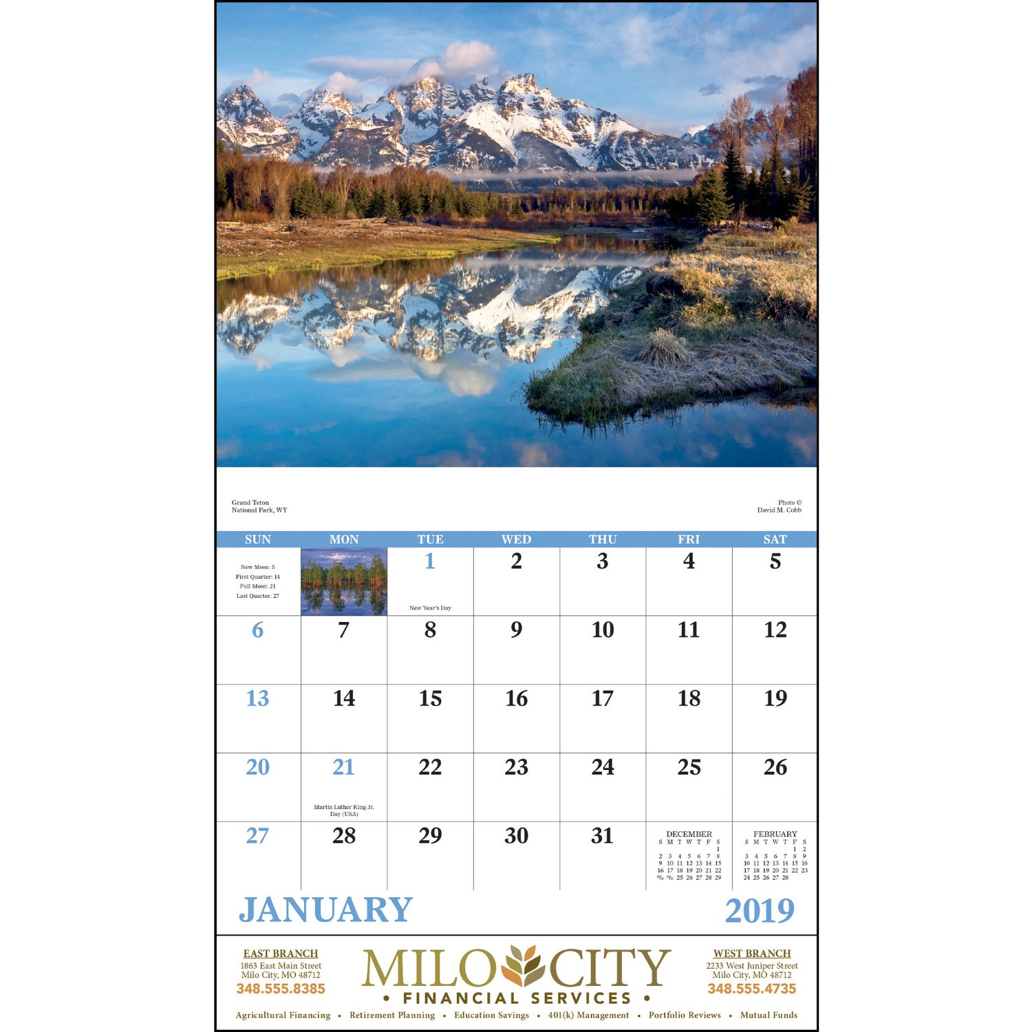 promotional 2019 landscapes of america stapled calendar englishes with custom logo for 0857 ea