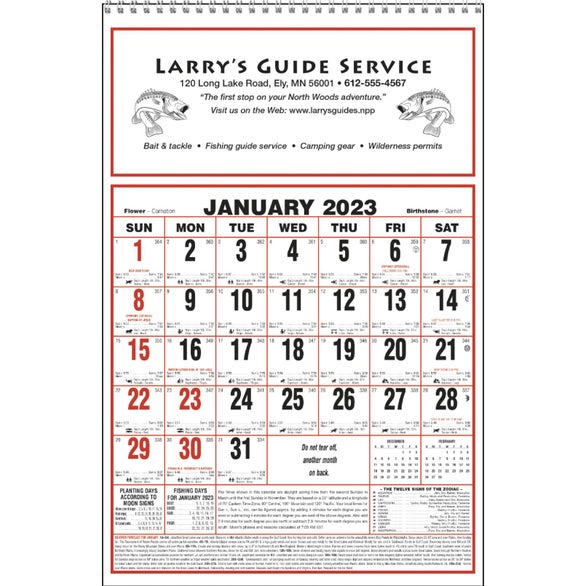 Promotional 2019 large almanac calendars with custom logo for Farmers almanac fishing calendar