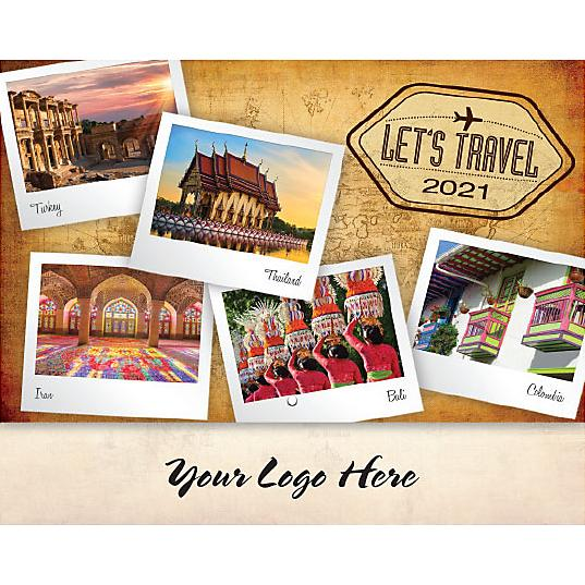 See Item Let's Travel Stapled Wall Calendar