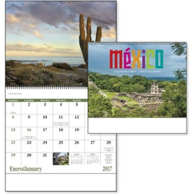 Imprinted Mexico Spiral 13 Month Calendar