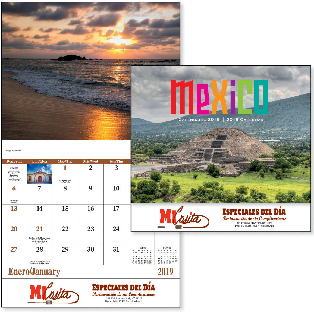 Promotional 2020 Mexico Stapled 13 Month Calendars With Custom Logo