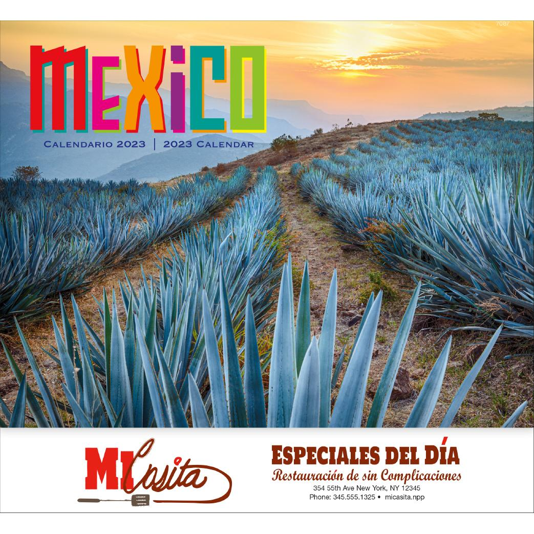 promotional 2019 mexico stapled 13 month calendars with custom logo