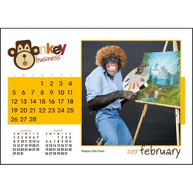 Monkey Business Desk Calendar Imprinted with Your Logo