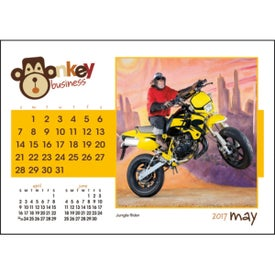 Monkey Business Desk Calendar with Your Slogan