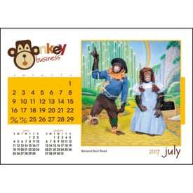 Monogrammed Monkey Business Desk Calendar