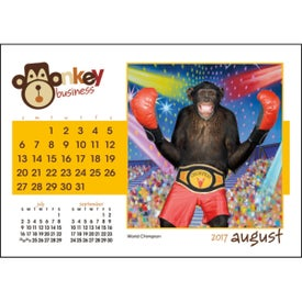 Imprinted Monkey Business Desk Calendar