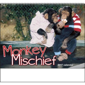 Monkey Mischief Spiral Calendar Printed with Your Logo