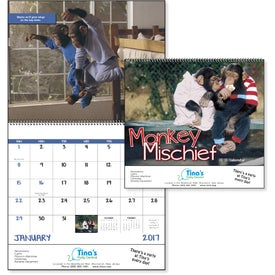 Personalized Monkey Mischief Spiral Calendar