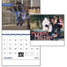 Monkey Mischief Spiral Calendar with Your Logo