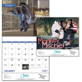 Promotional Monkey Mischief Stapled Calendar