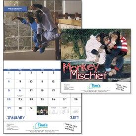 Promotional Monkey Mischief Stapled Calendar