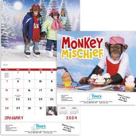 Customized Monkey Mischief Stapled Calendar
