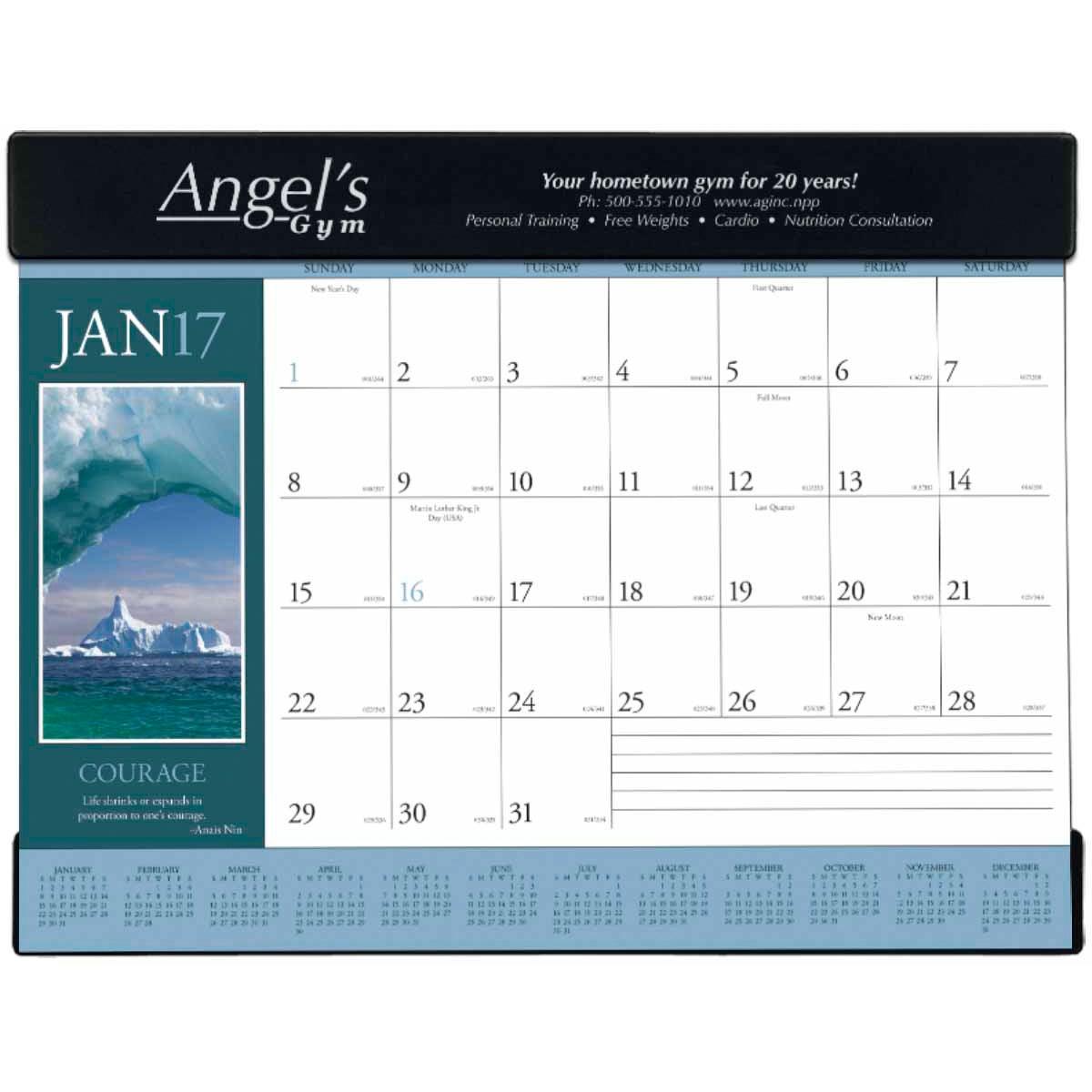 Motivations Desk Pad Calendar 2017 Custom Desktop Items