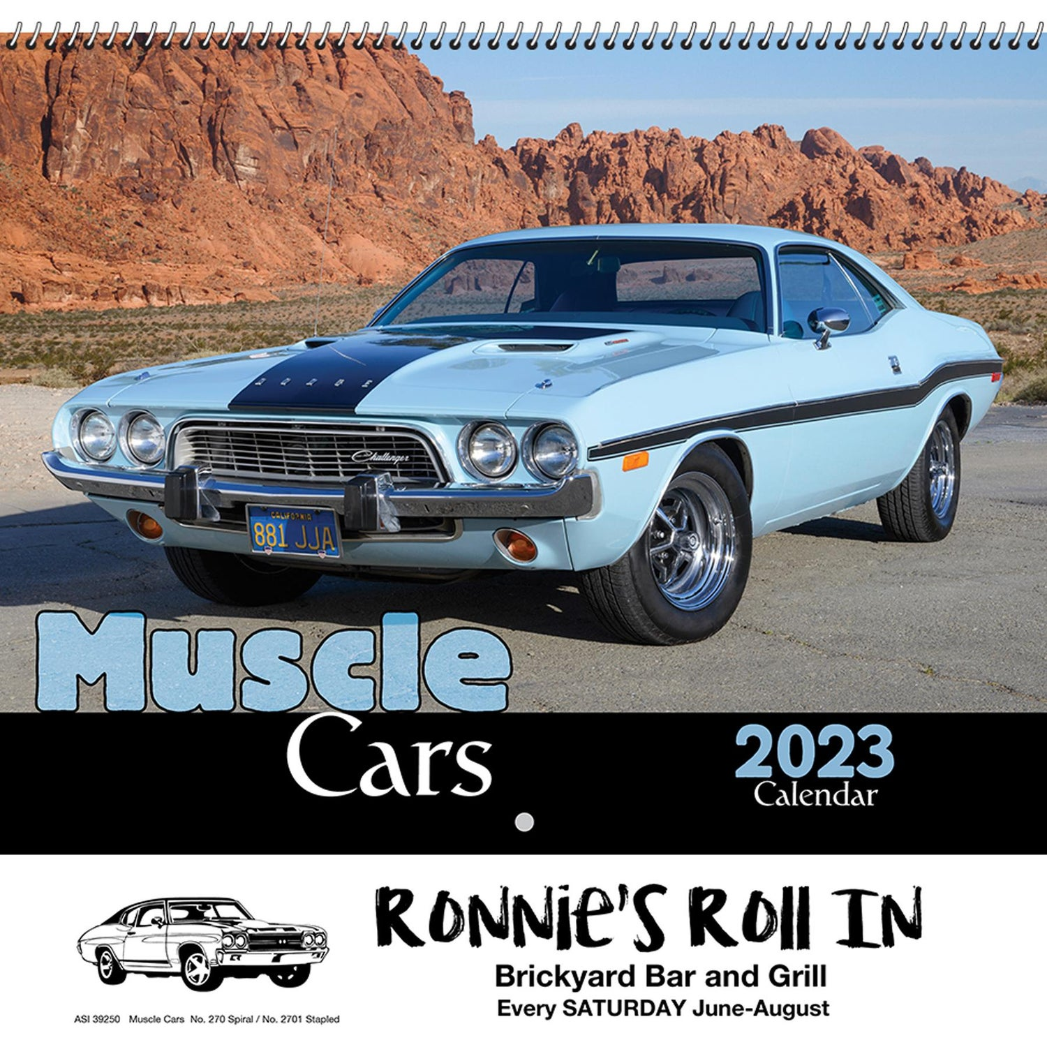 Promotional Stapled Muscle Cars Wall Calendars with Custom Logo for ...
