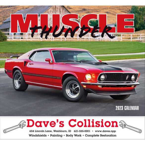 Muscle Thunder Stapled Calendar, English