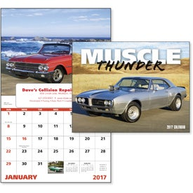 Monogrammed Muscle Thunder Window Calendar, English
