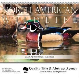 Printed North American Wildlife Spiral Bound Calendar