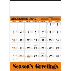 Printed Orange and Black Contractors Memo Calendar