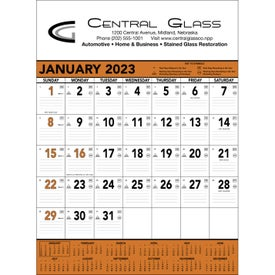 Imprinted Orange and Black Contractors Memo Calendar
