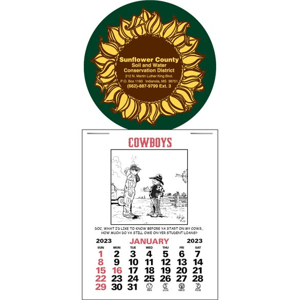 Beige Press N Stick Supersize Cowboy Calendar