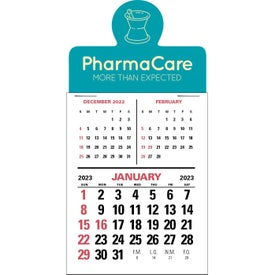 Branded Press N Stick Three Month Vertical Calendar Pad