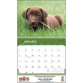 Puppies 12 Month Appointment Calendar with Your Slogan